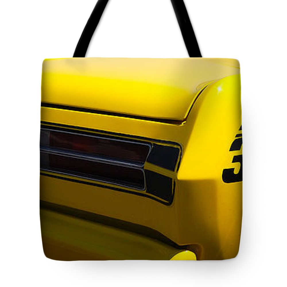 American Muscle Car Tote Bag featuring the photograph Panoramic Yellow Duster by Mark Spearman