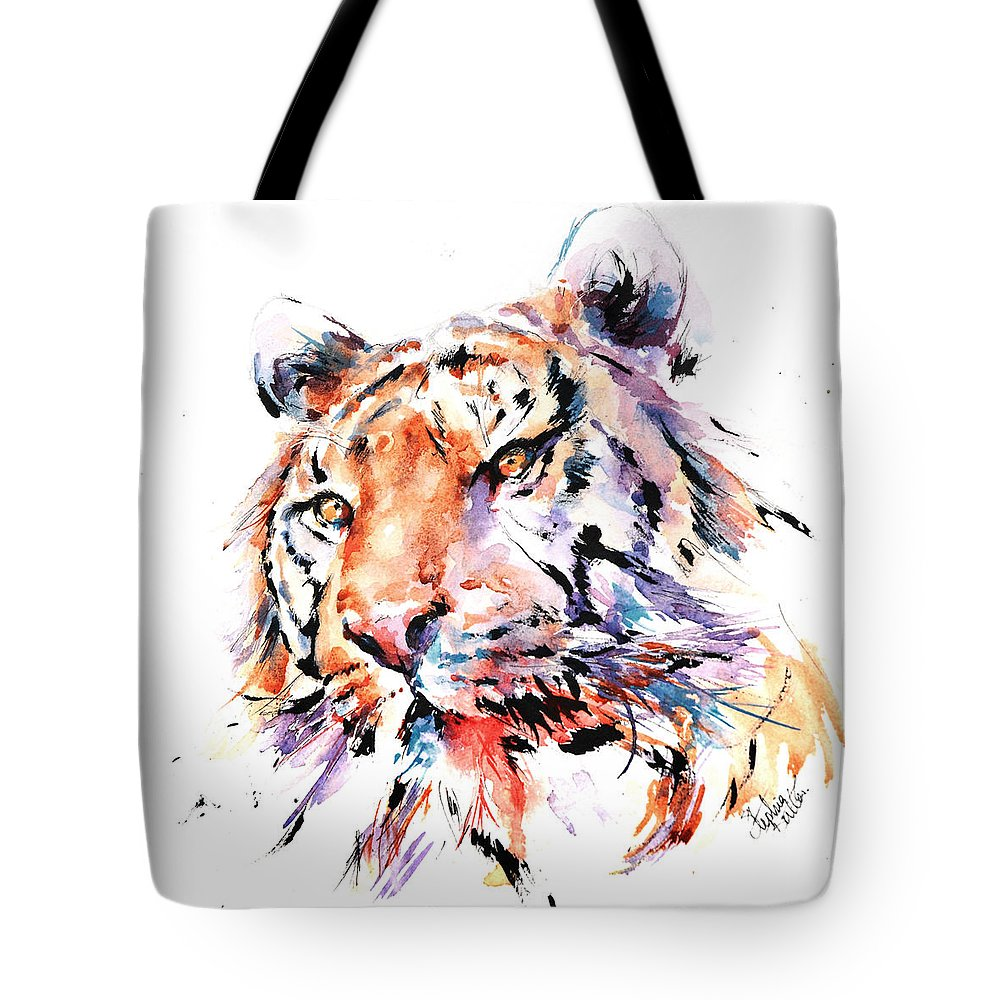 Panthera Tote Bag featuring the painting Panthera Tiger II by Stephie Butler
