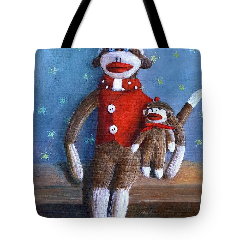 Sock Monkey Papa With Child Tote Bag featuring the painting Papa And Paco by Randy Burns