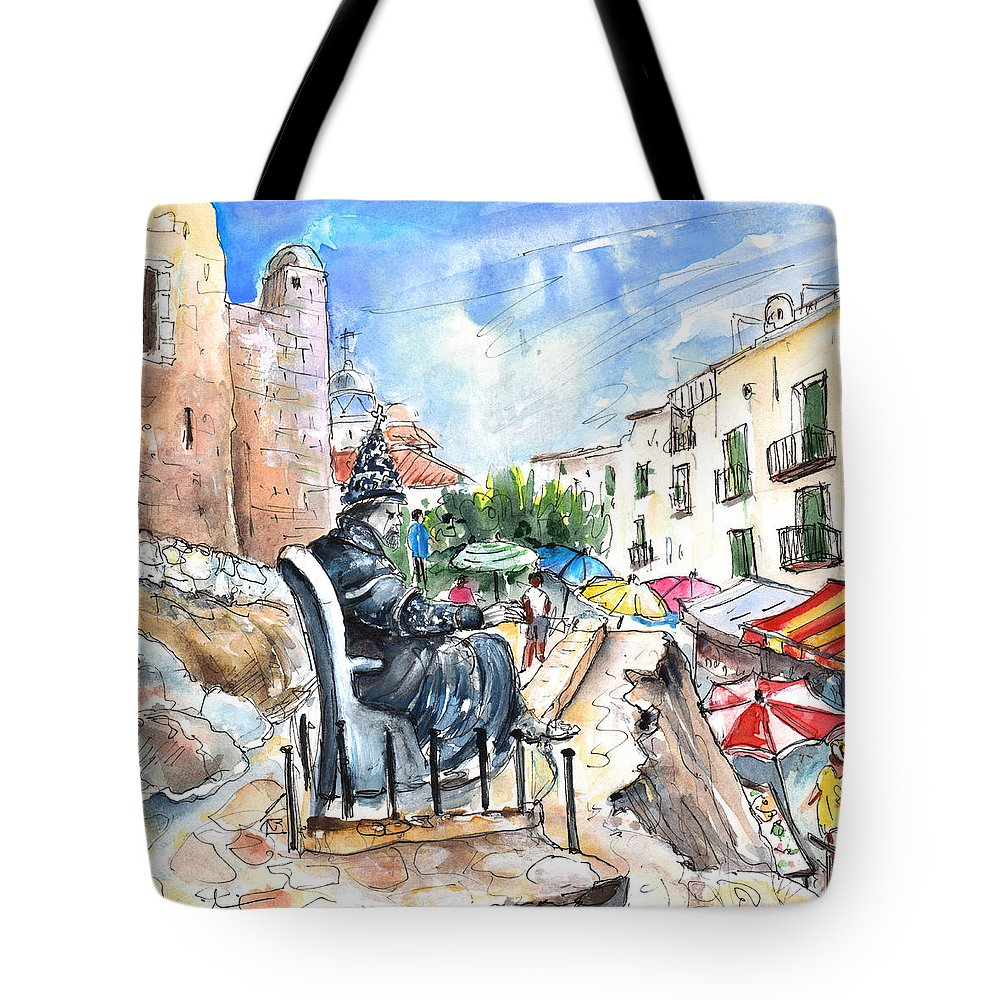 Travel Tote Bag featuring the painting Papa Luna In Peniscola by Miki De Goodaboom