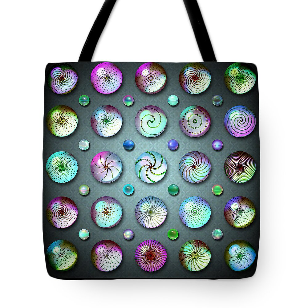 Blue Tote Bag featuring the digital art Paperweights And Marbles by Ann Stretton