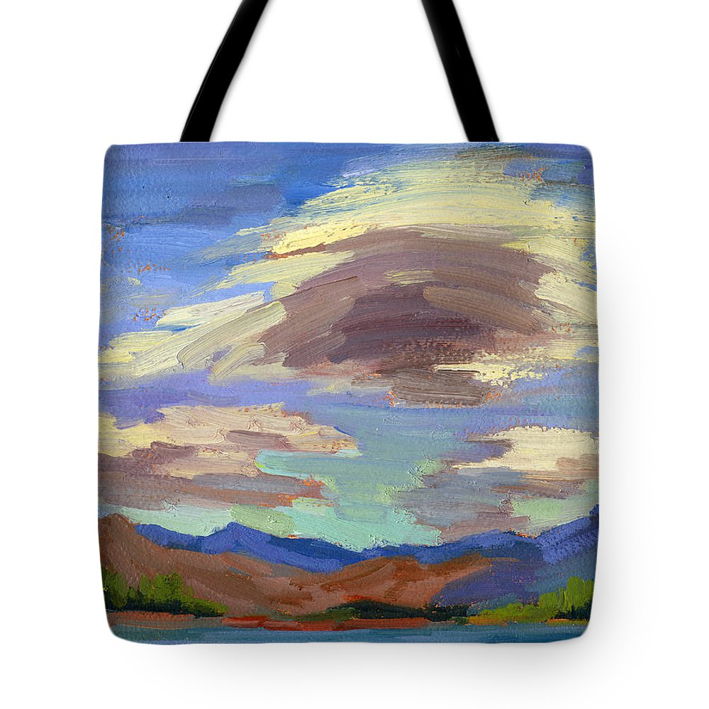Papoose Lake Tote Bag featuring the painting Papoose Lake And Clouds by Diane McClary