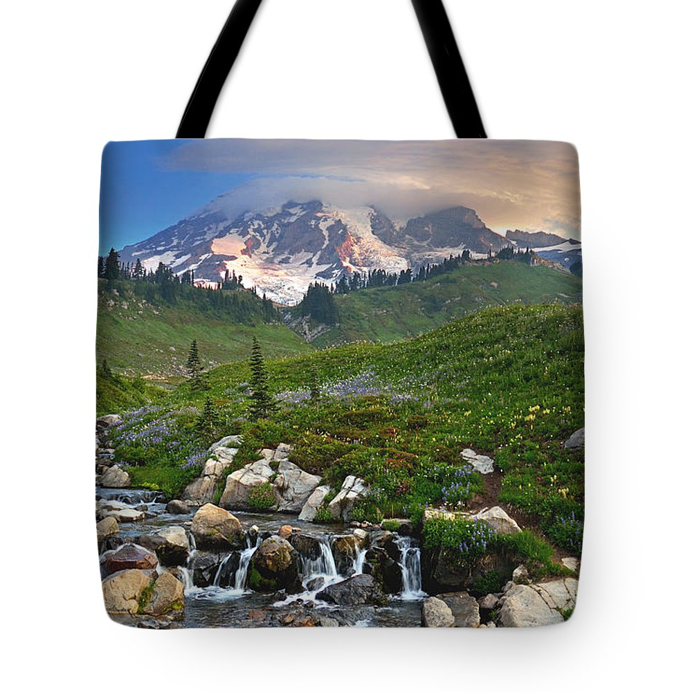 Nature Usa Mt Mount Northwest Mountain Scenic Flowers Landscape Pacific Pine Travel Recreation View Mt Rainier Range Stock Lake Government Wilderness Beautiful Cascade Peak Rugged Continental Image Tourism Wild Flowers Colorful Green Blue Panorama Mt Rainier National Park Beauty Forest Central Hood Park National Outdoor Oregon Clear Destination Wildflower Tote Bag featuring the photograph Paradise by Jim Chamberlain