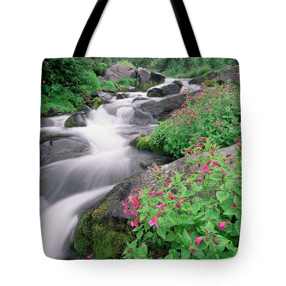 Blurred Motion Tote Bag featuring the photograph Paradise River And Spring Wildflowers by Tim Fitzharris