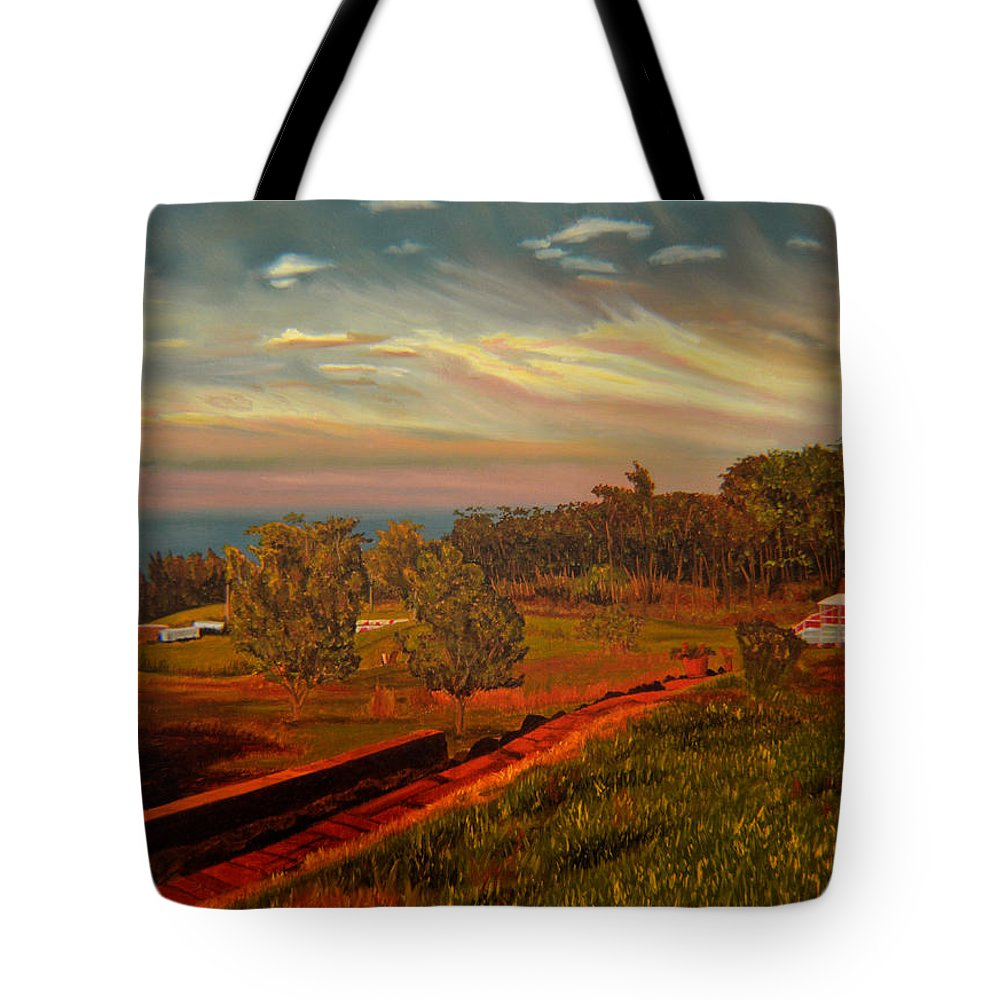 Landscape Tote Bag featuring the painting Paradise Road by Thu Nguyen