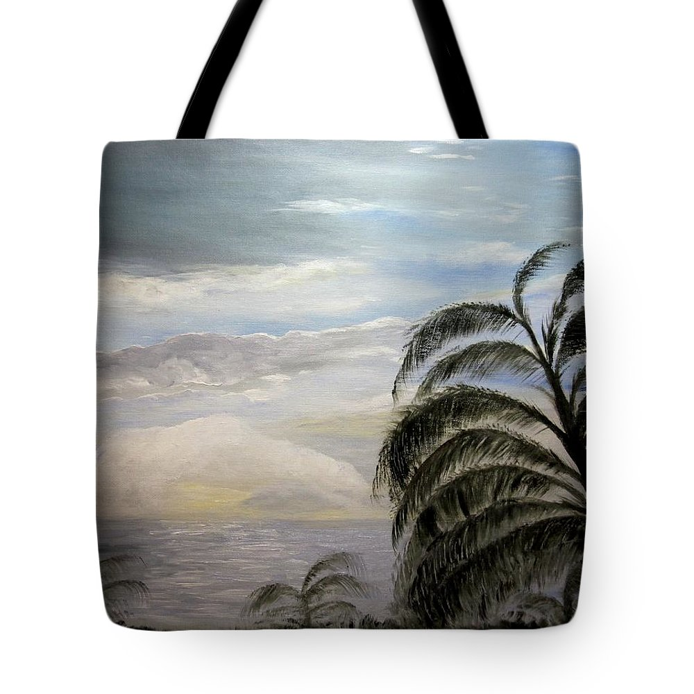 Oil Tote Bag featuring the painting Paradise Sky by Nancy Craig