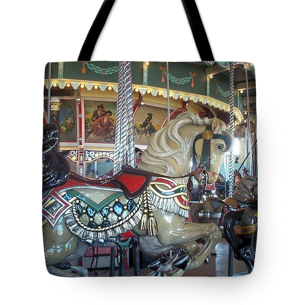 Carousel Tote Bag featuring the photograph Paragon Carousel Nantasket Beach by Barbara McDevitt