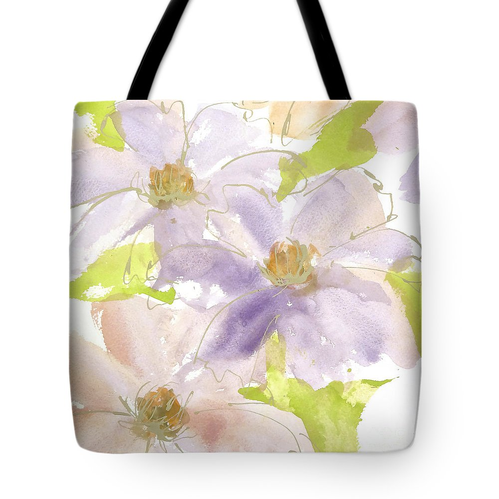 Original And Printed Watercolors Tote Bag featuring the painting Parfait Clematis by Chris Paschke