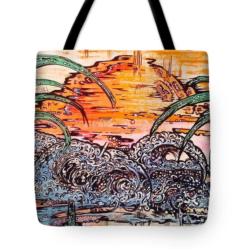 Sunset Tote Bag featuring the mixed media Paridise 1 by Lowkey Luciano