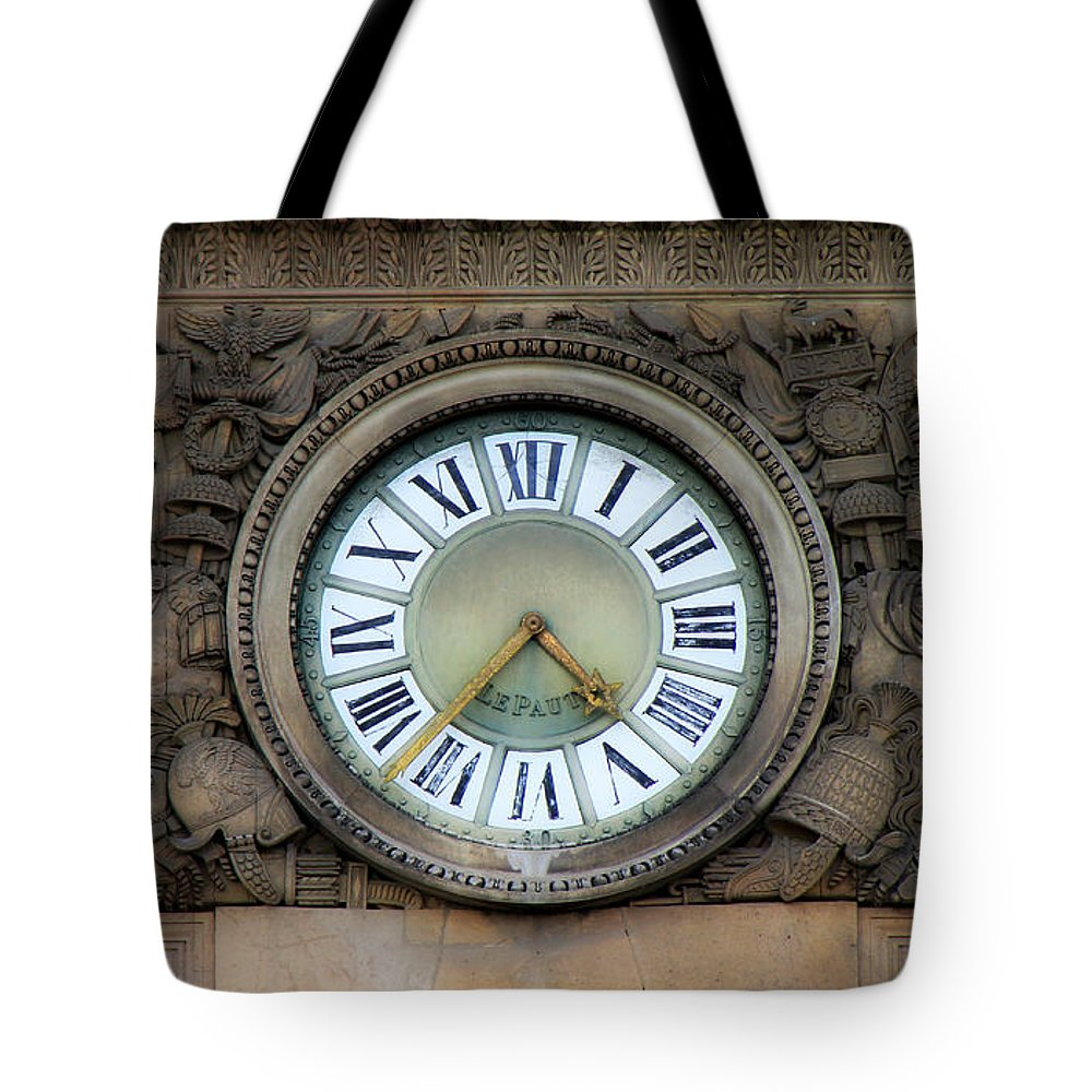 Paris Tote Bag featuring the photograph Paris Clocks 1 by Andrew Fare