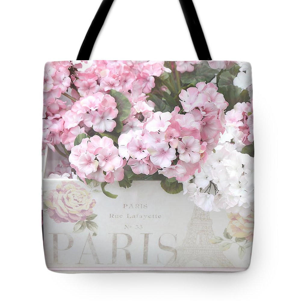 Shabby Chic Tote Bag featuring the photograph Shabby Chic Paris Pink Flowers, Parisian Shabby Chic Paris Flower Box - Paris Floral Decor by Kathy Fornal