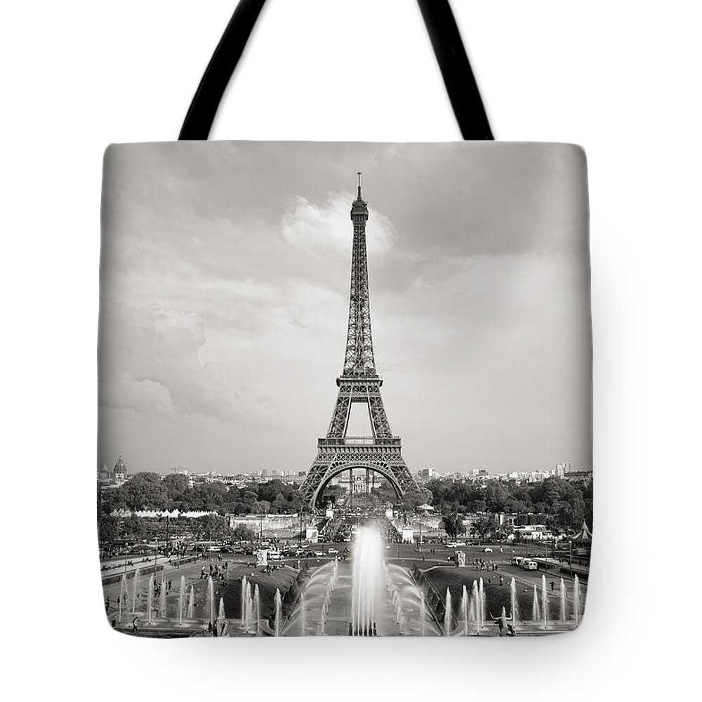 Eiffel Tower Tote Bag featuring the photograph Paris Eiffel Tower by For Ninety One Days