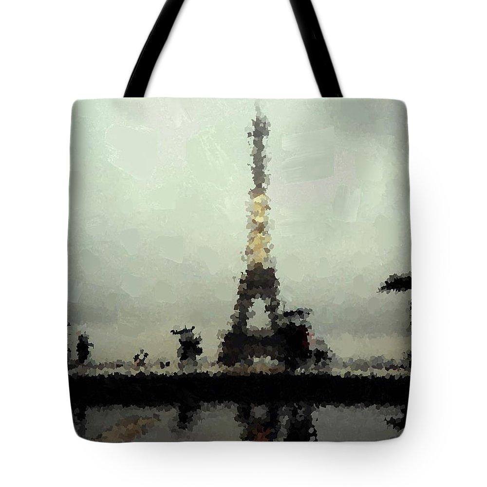 Paris Tote Bag featuring the painting Paris In The Rain by Samuel Majcen