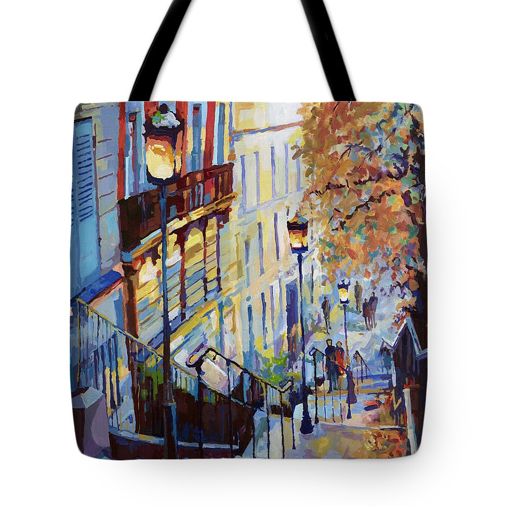 Acrilic Tote Bag featuring the painting Paris Monmartr Steps by Yuriy Shevchuk