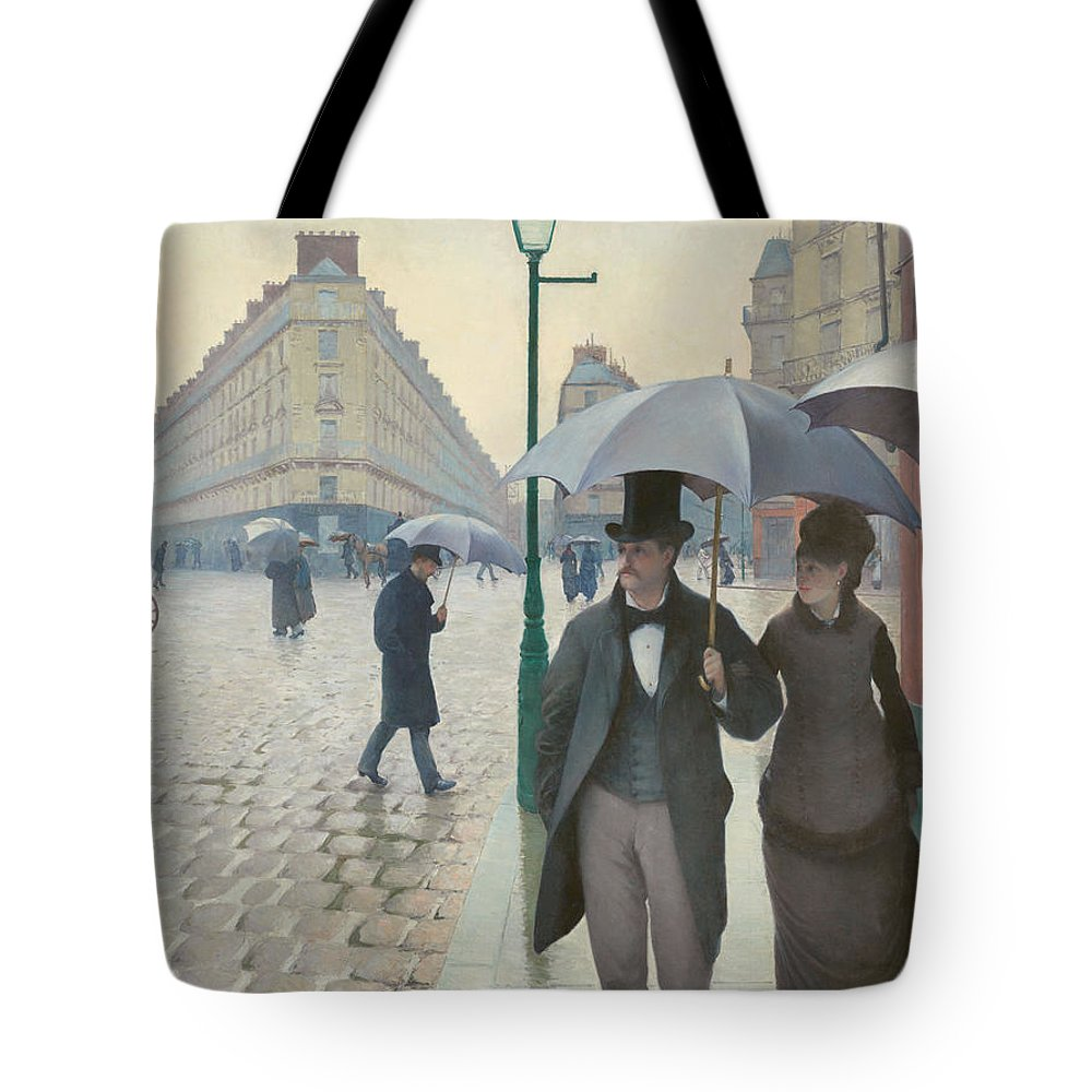 Gustave Caillebotte Tote Bag featuring the painting Paris Street Rainy Day by Celestial Images