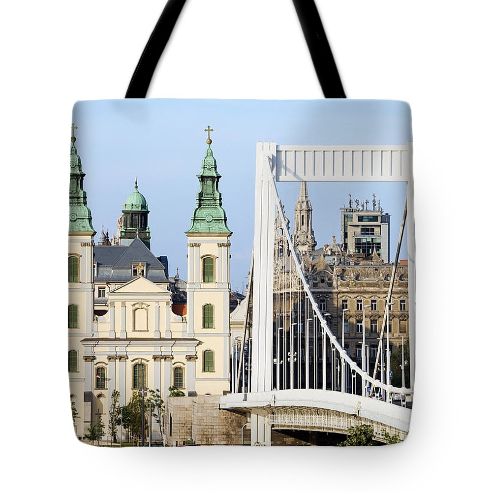 Architecture Tote Bag featuring the photograph Parish Church And Elizabeth Bridge In Budapest by Artur Bogacki