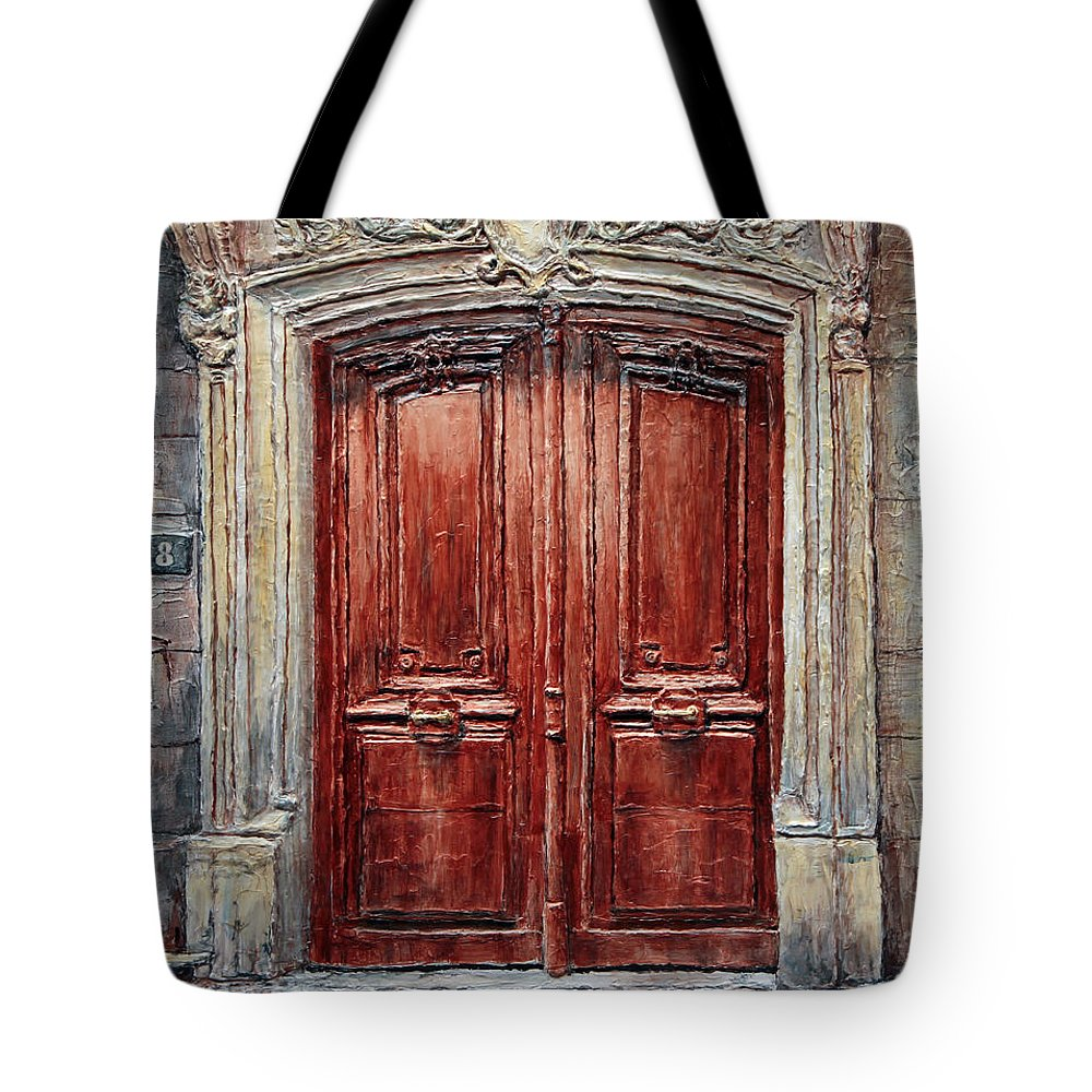 8 Tote Bag featuring the painting Parisian Door No. 8 by Joey Agbayani