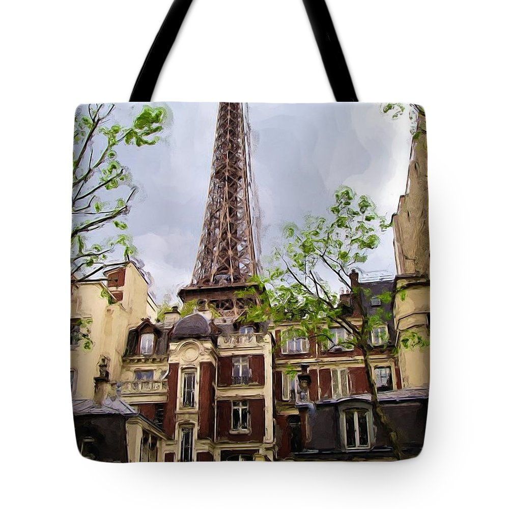Eiffel Tower Tote Bag featuring the painting Parisian Icon by Jenny Hudson