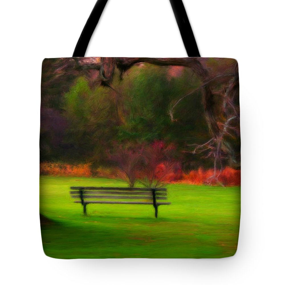 Autumn Tote Bag featuring the painting Park Bench by Bruce Nutting