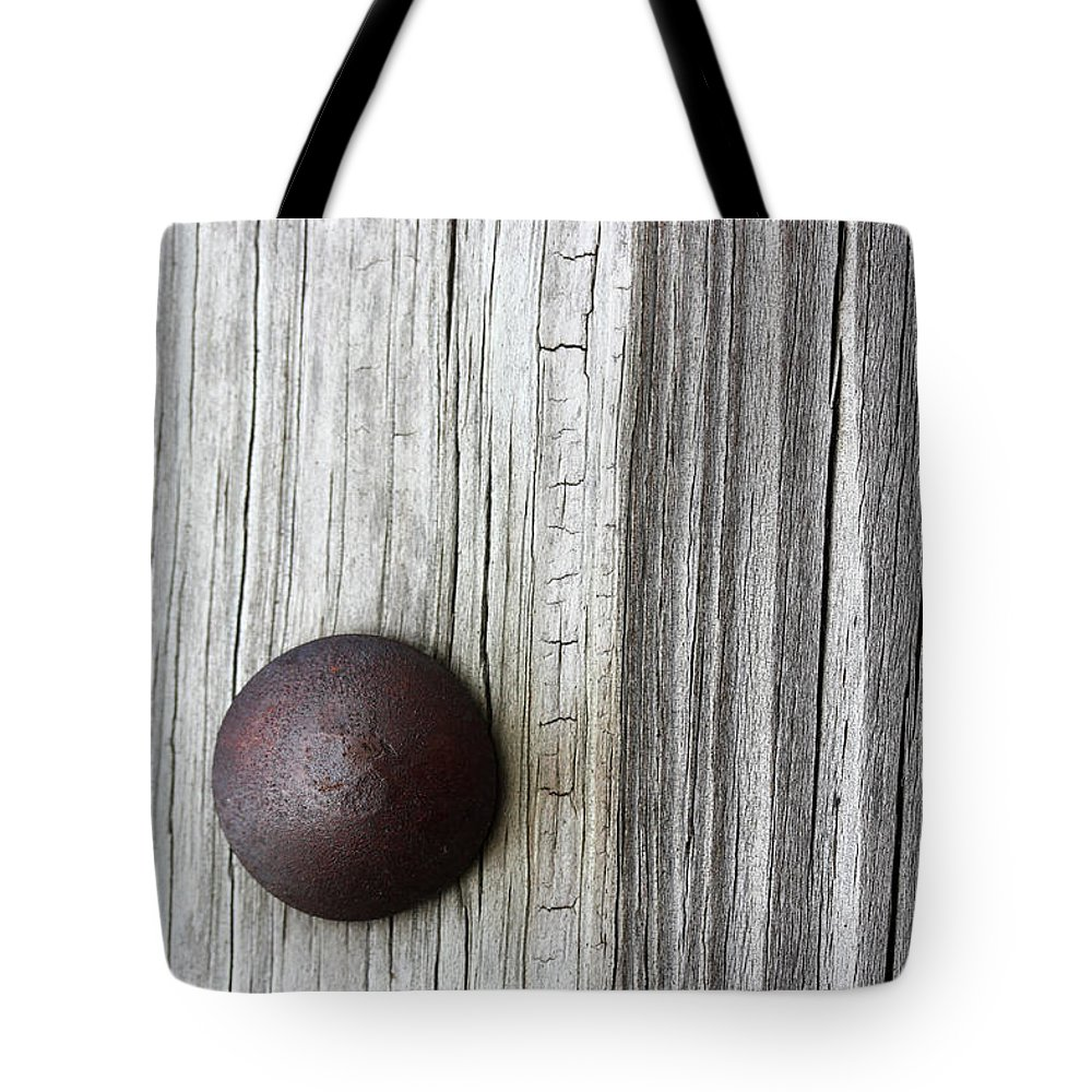 Bench Tote Bag featuring the photograph Park Bench Rivet by Mary Bedy