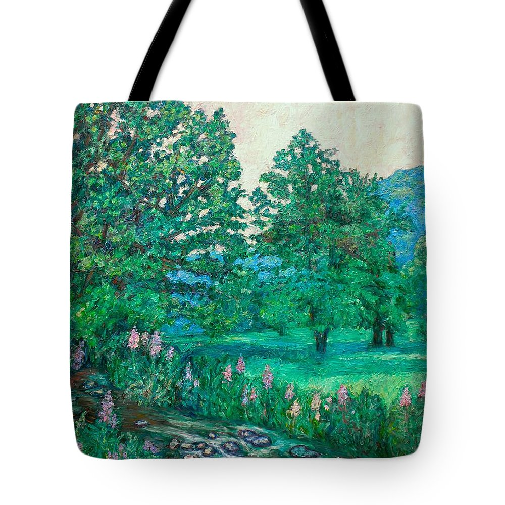 Landscape Tote Bag featuring the painting Park Road In Radford by Kendall Kessler