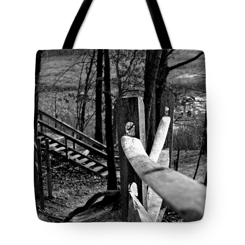 Autumn Tote Bag featuring the photograph Park Trail Bw by Pablo Rosales