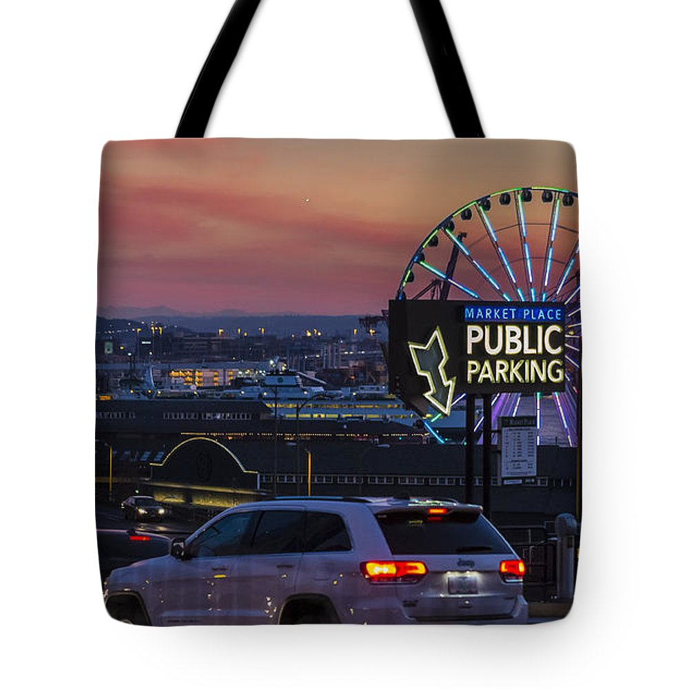 Ferris Wheel Tote Bag featuring the photograph Parking Wheel by Scott Campbell