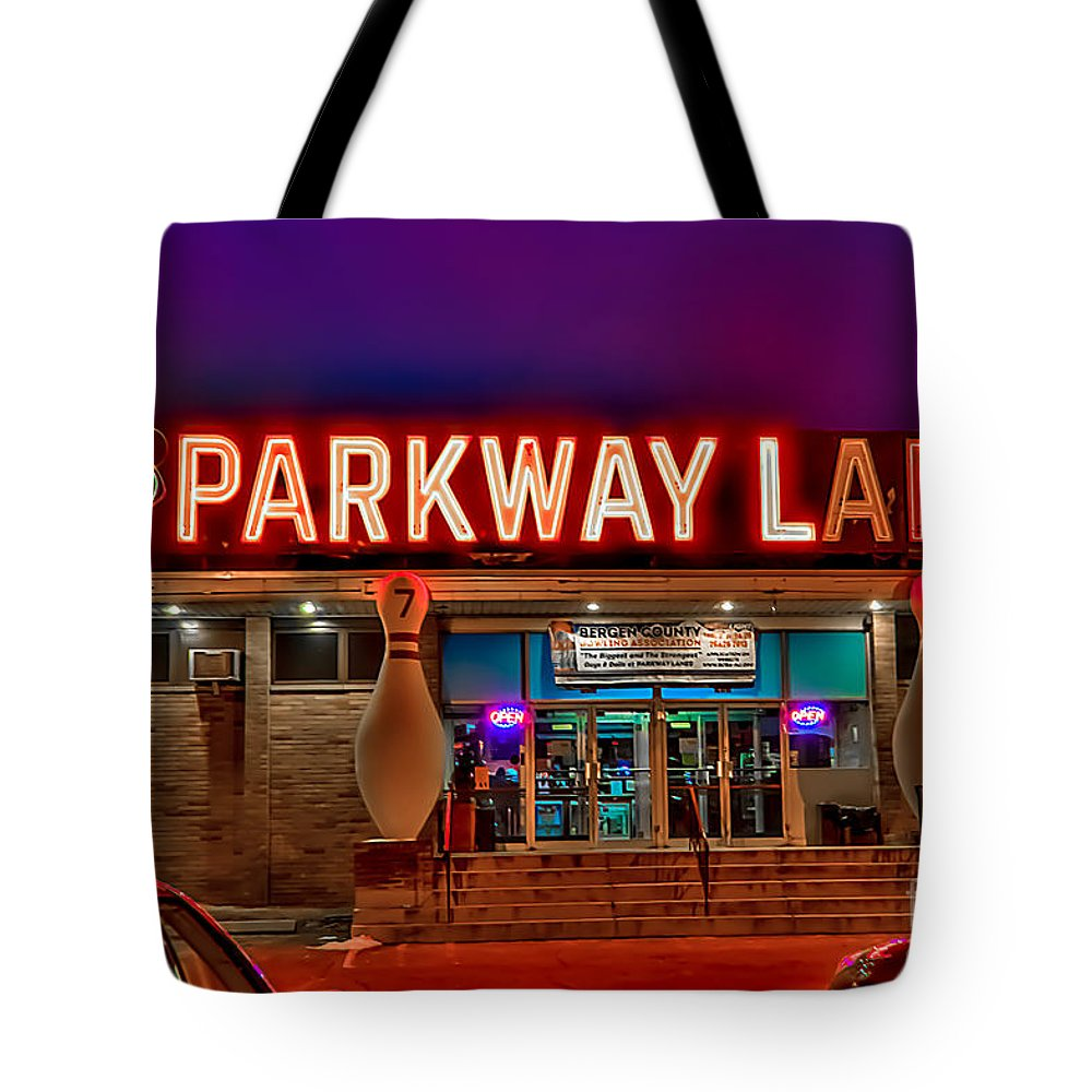 Bowling Tote Bag featuring the photograph Parkway Lanes by Anthony Sacco