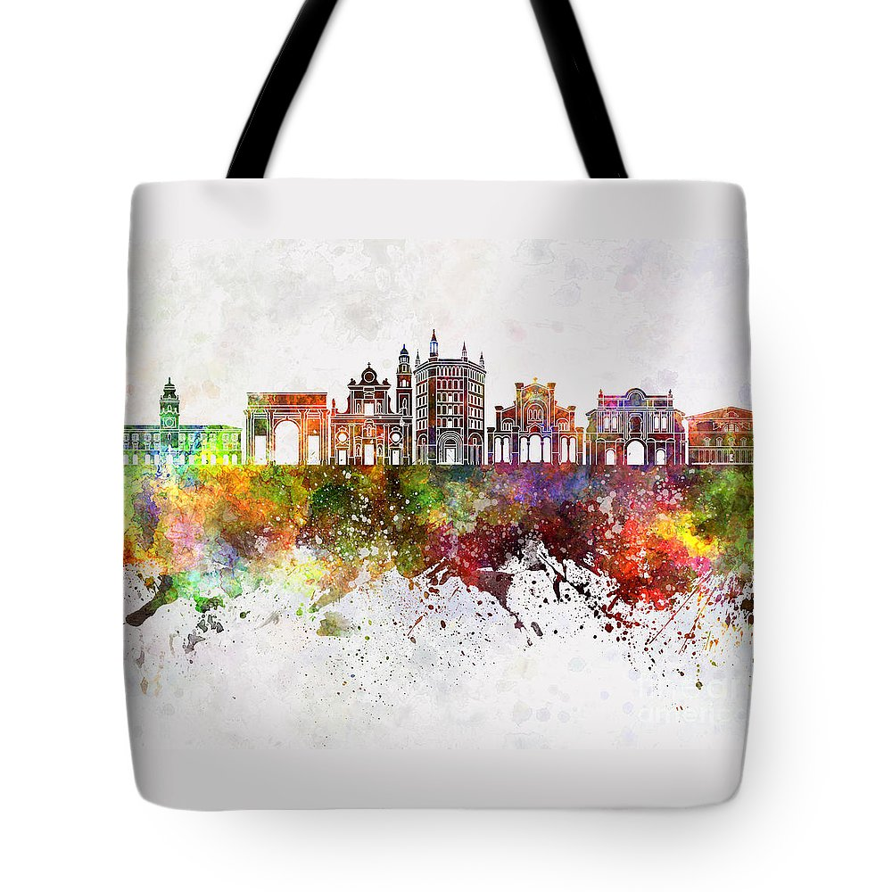 Parma Skyline Tote Bag featuring the painting Parma Skyline In Watercolor Background by Pablo Romero