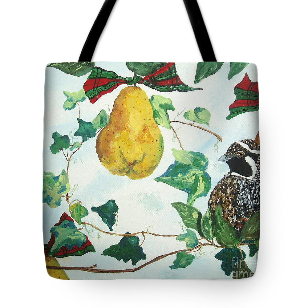 Tree Tote Bag featuring the painting Partridge And Pears by Reina Resto