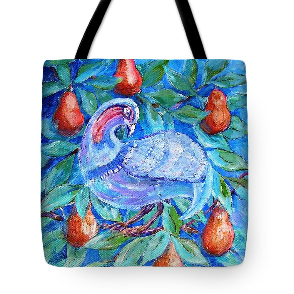 Christmas Tote Bag featuring the painting Partridge In A Pear Tree by Trudi Doyle