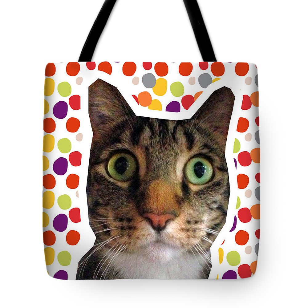 Cat Tote Bag featuring the photograph Party Animal - Smaller Cat With Confetti by Linda Woods