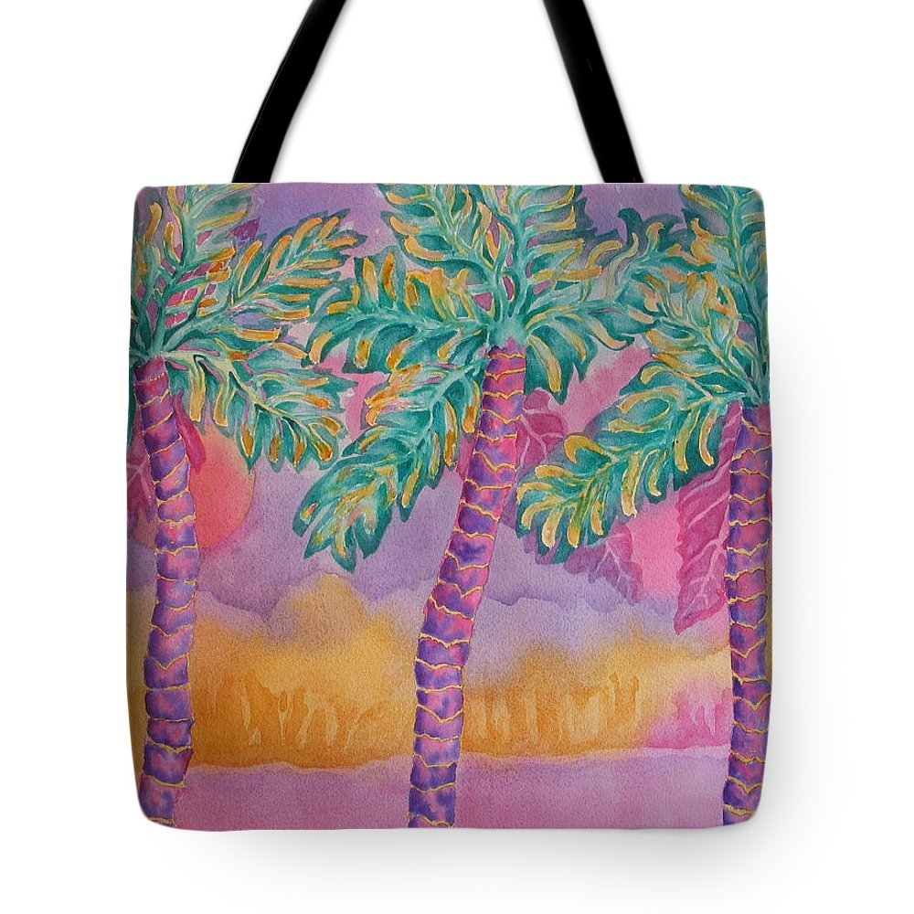 Palm Tree Tote Bag featuring the painting Party Palms by Rhonda Leonard