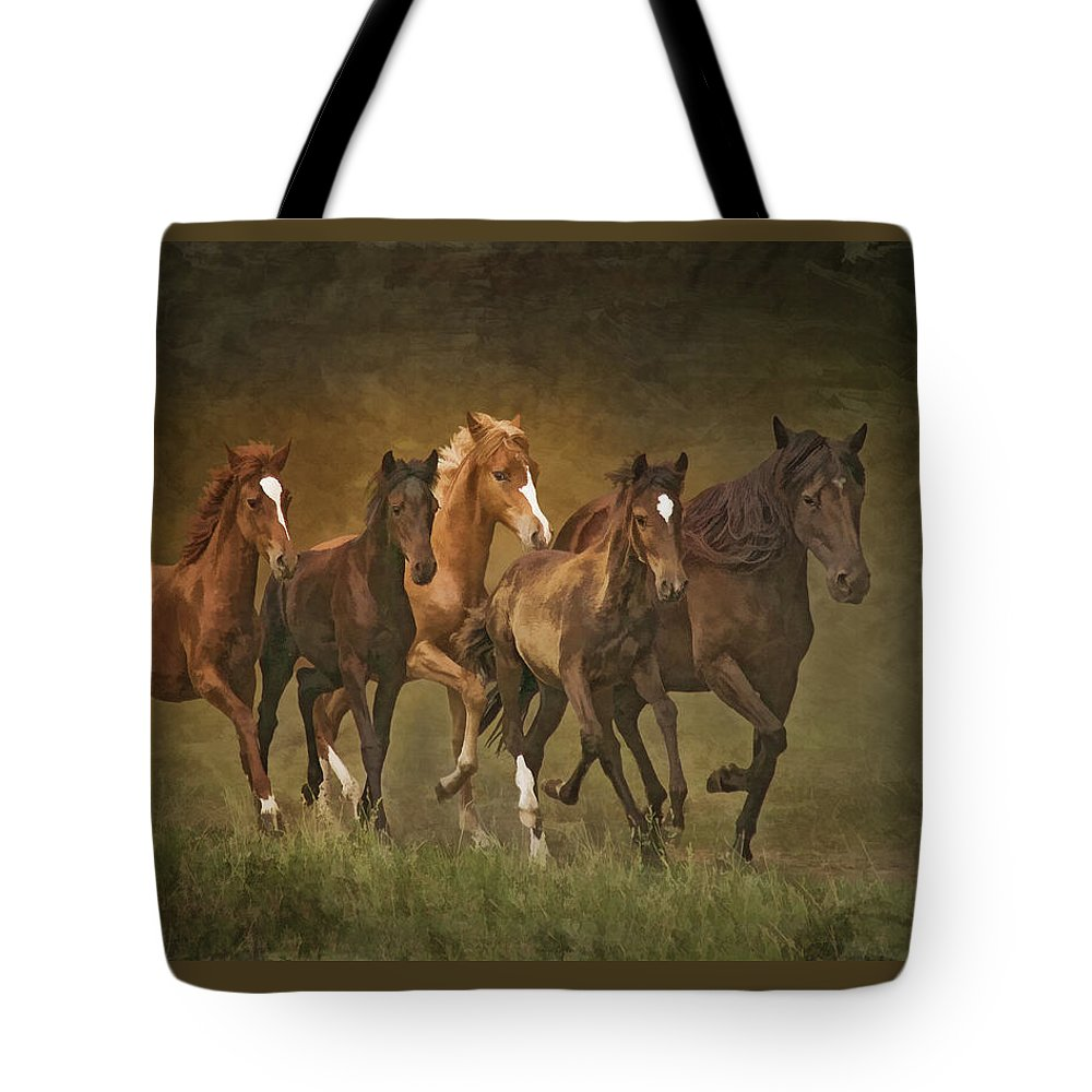 Horses Tote Bag featuring the photograph Paso Peruvians by Priscilla Burgers