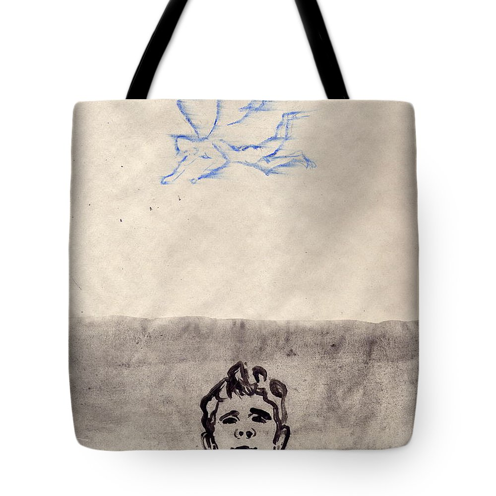 Angel Tote Bag featuring the painting Paso Un Angel by Line Arion