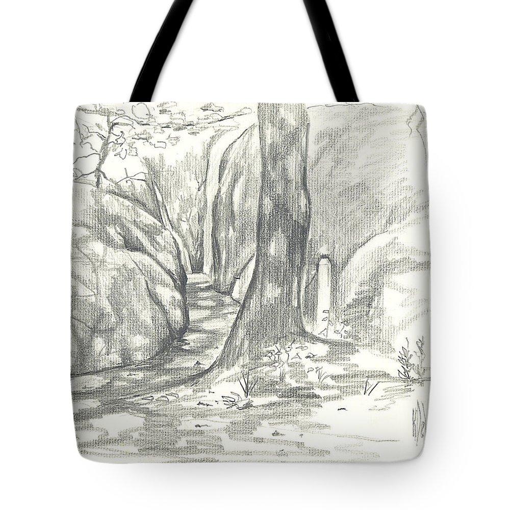 Passageway At Elephant Rocks Tote Bag featuring the drawing Passageway At Elephant Rocks by Kip DeVore