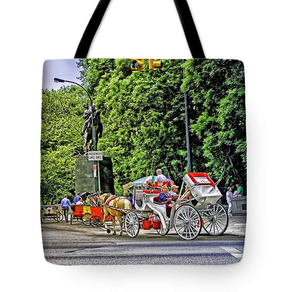 Sign Tote Bag featuring the photograph Passenger Cars Only - Central Park by Madeline Ellis