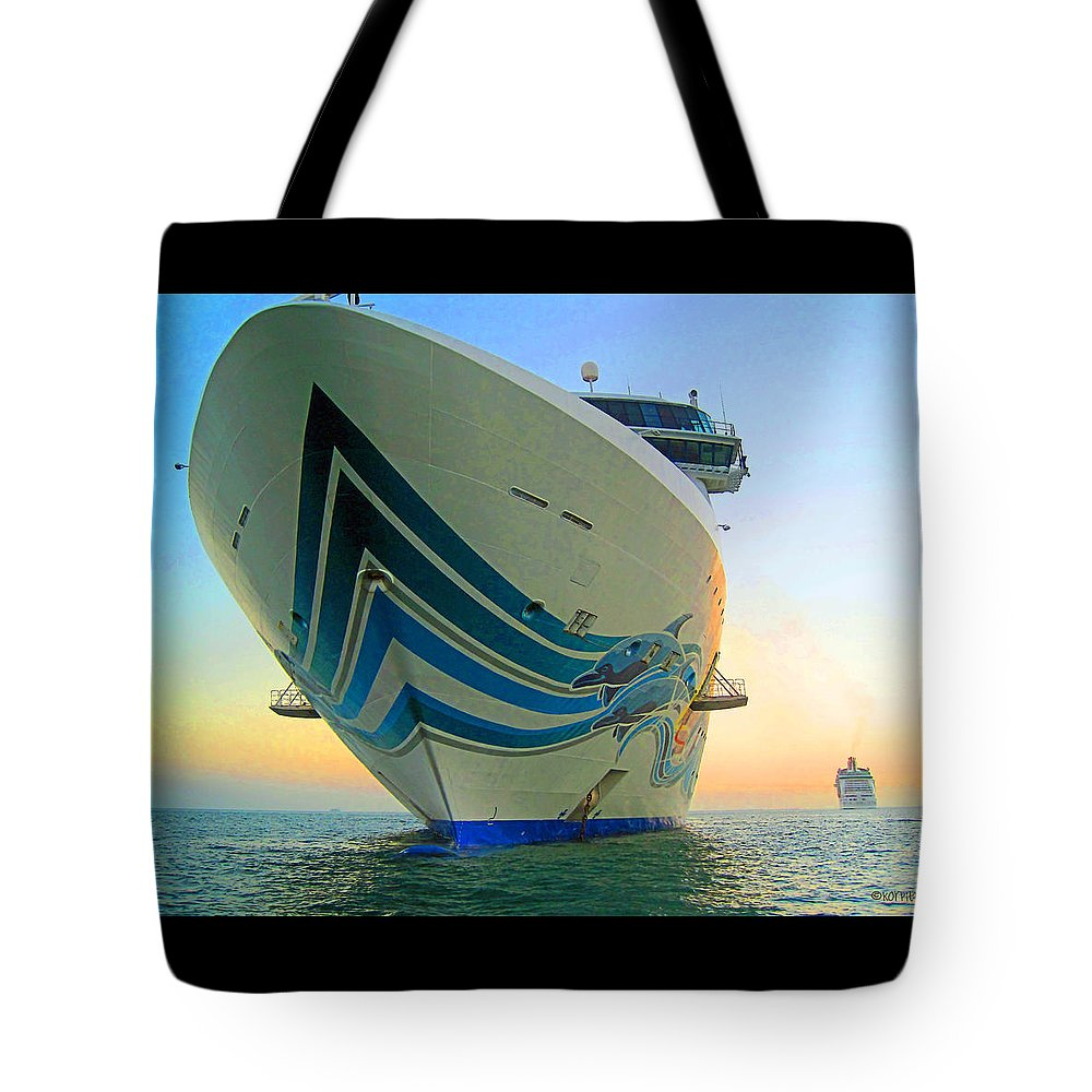 Rebecca Korpita Tote Bag featuring the photograph Passing Cruise Ships At Sunset by Rebecca Korpita