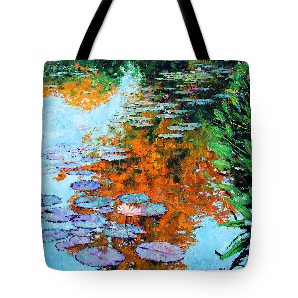 Garden Pond Tote Bag featuring the painting Passing Season by John Lautermilch