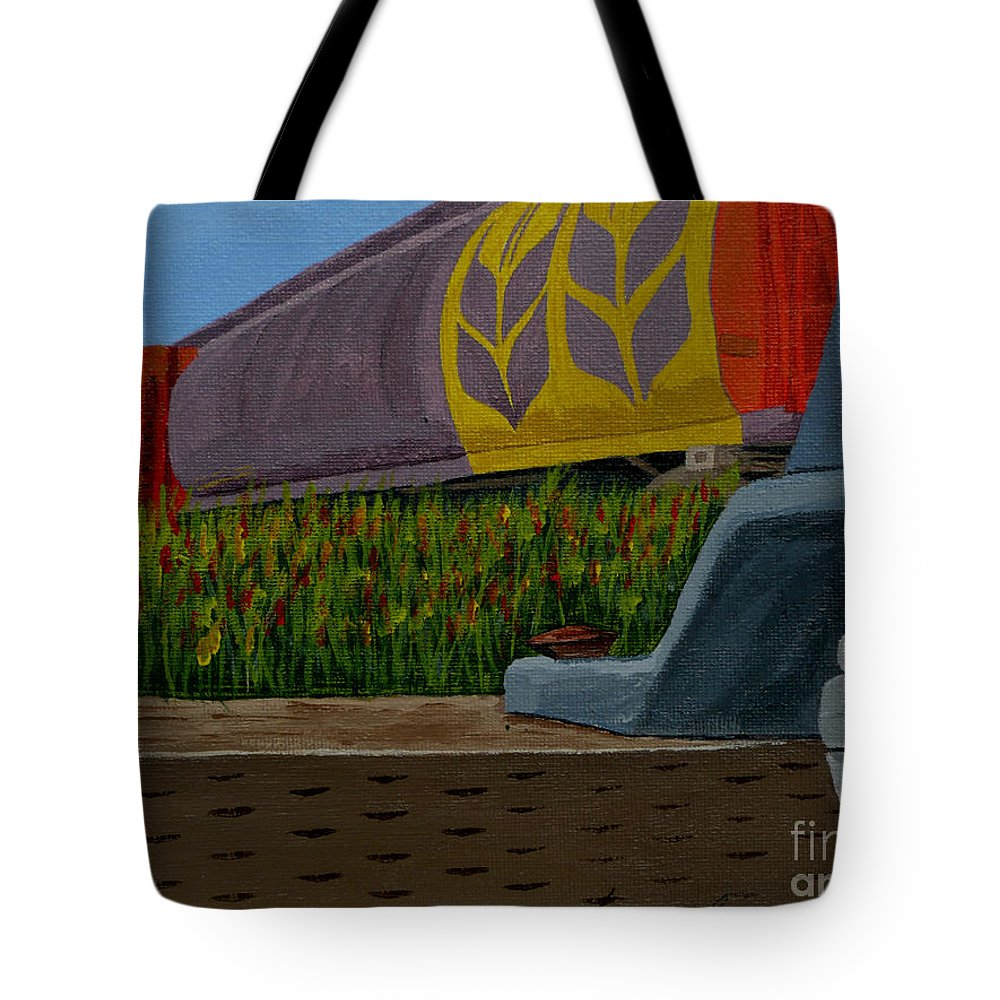 Train Tote Bag featuring the painting Passing The Wild Ones by Anthony Dunphy