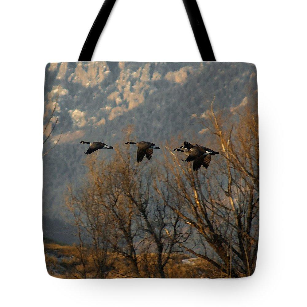 Birds Tote Bag featuring the digital art Passing Through by Ernie Echols