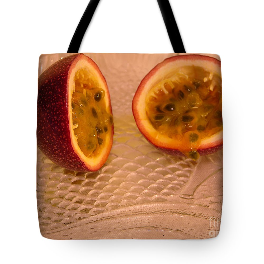 Photography Tote Bag featuring the photograph Passion Fruit On Fish Plate 11-3-13 by Julianne Felton