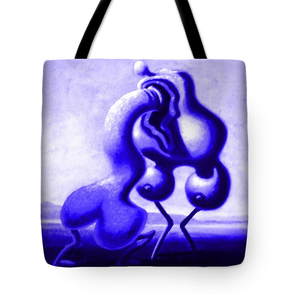 Genio Tote Bag featuring the mixed media Passion In Blue by Genio GgXpress