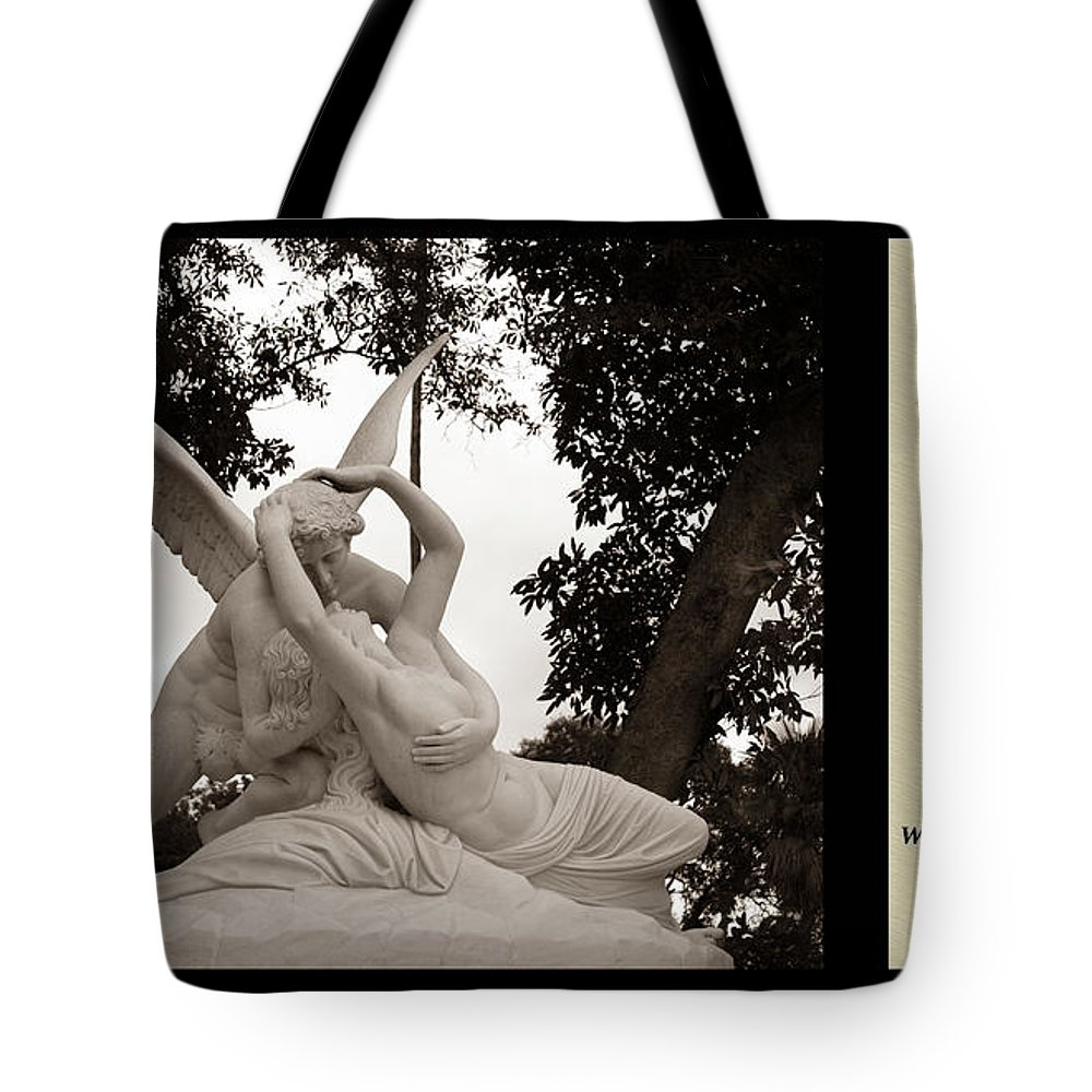 Poetry Tote Bag featuring the photograph Passion In Death With Poety by Jessica Foster