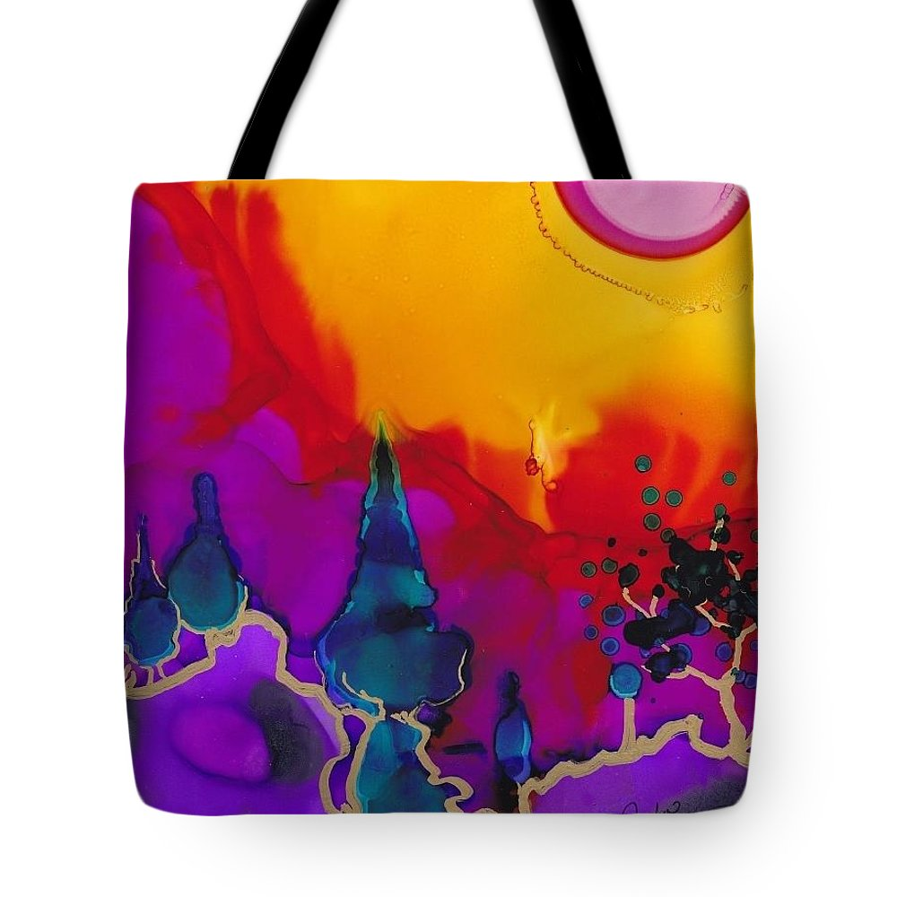 Abstracted Landscape Tote Bag featuring the painting Passionate by Duchek Jocelyn