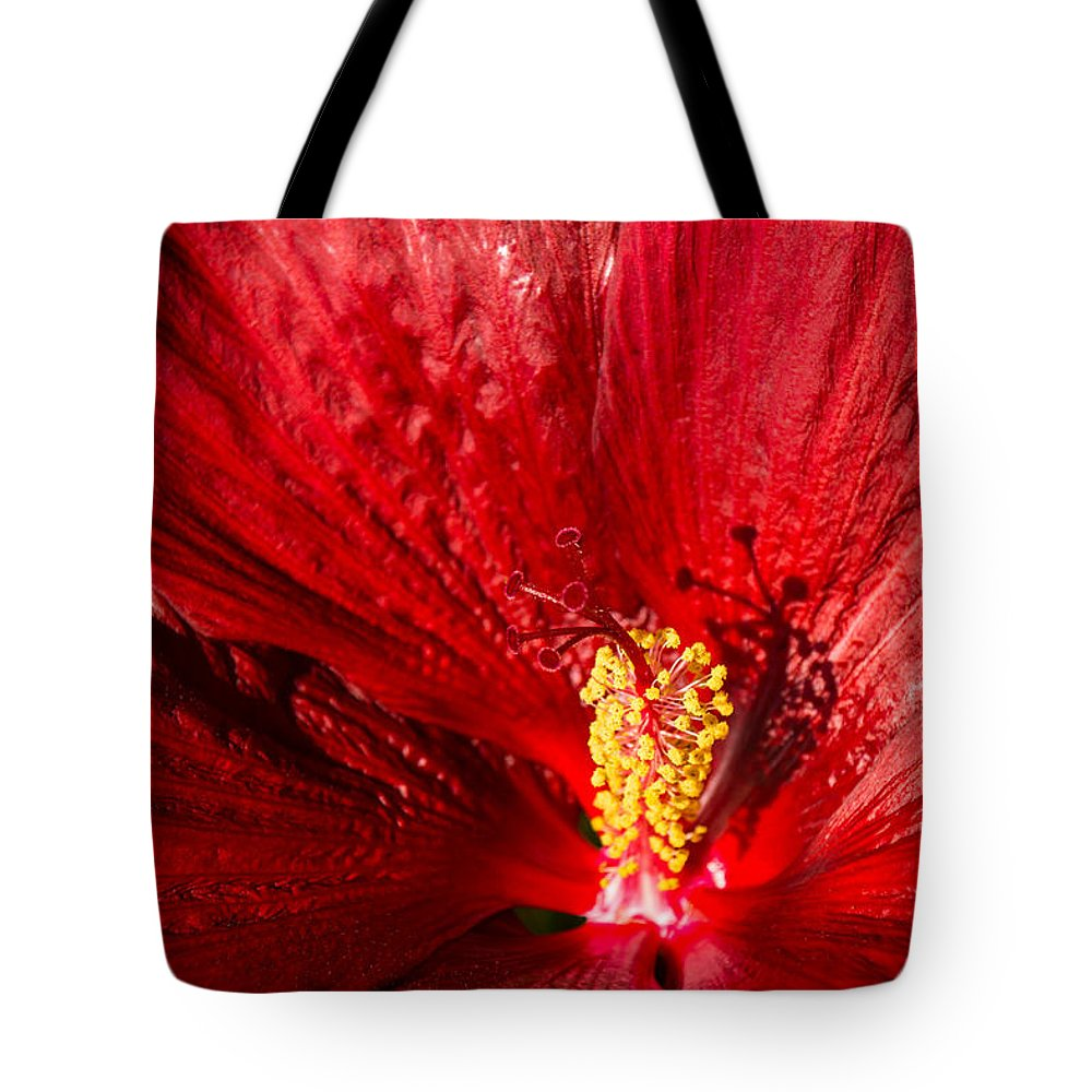 Passionate Ruby Silk Tote Bag featuring the photograph Passionate Ruby Red Silk by Georgia Mizuleva