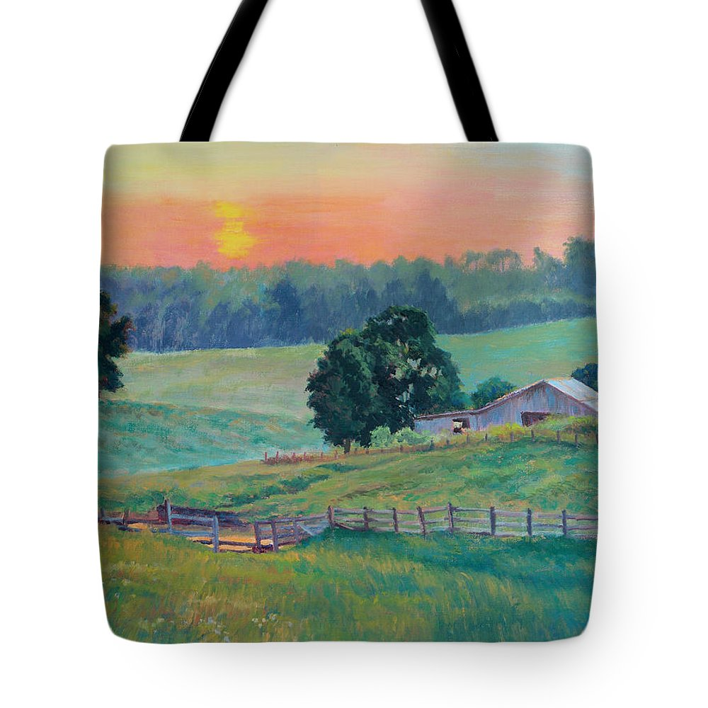 Impressionism Tote Bag featuring the painting Pastoral Sunset by Keith Burgess