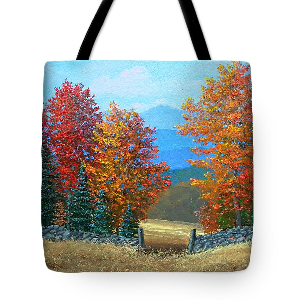 Autumn Tote Bag featuring the painting Pasture Gate In Autumn by Frank Wilson