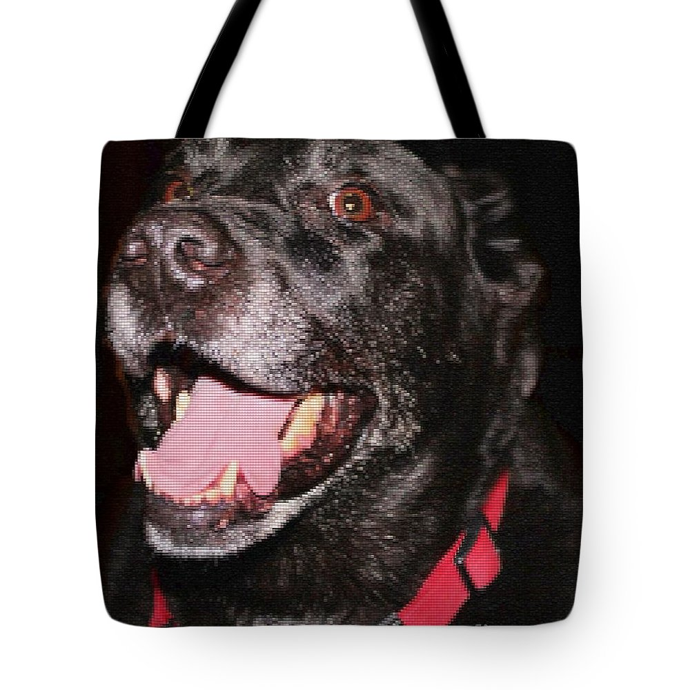 Patchwork Black Lab Closeup Tote Bag featuring the photograph Patchwork Black Lab Closeup by Barbara Griffin
