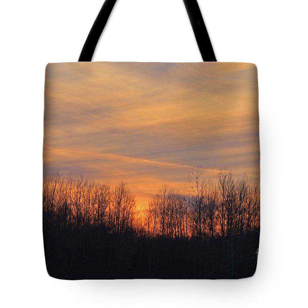 Sunset Tote Bag featuring the photograph Patchwork Sunset by Kathy DesJardins